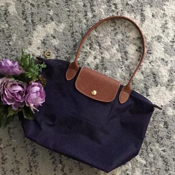 Longchamp Handbags - Longchamp Le Pliage Eggplant Purple Small Tote 29cbaa30fa4e0